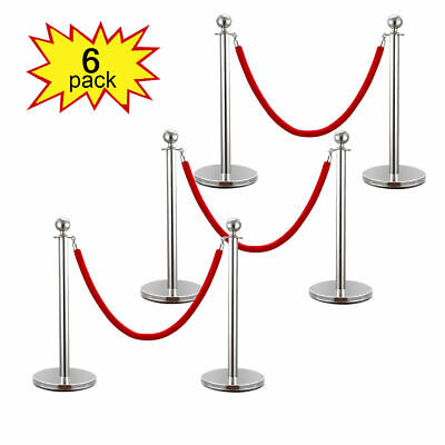6PCS Red Velvet Rope Stanchion Silver Post Crowd Control Queue Line Barrier