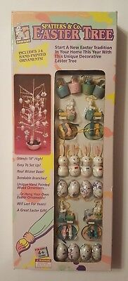 "Easter Tree 18"" Trendmasters 1993 Spatters & Co. Wicker Base 24 Ornaments NEW"