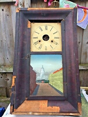 Edinburgh view Antique Clock Newhaven Wall Clock For Parts Or Spares