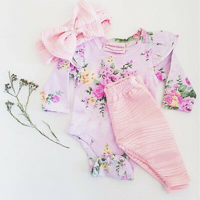 AU Newborn Kids Baby Girls Tops Romper Pants Leggings Headband Outfits Set 3pcs