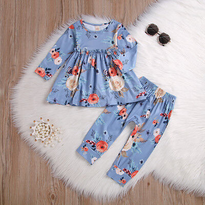 US Seller Cute Infant Kids Baby Girl Long Sleeve Floral Dress Tops Pants Outfit