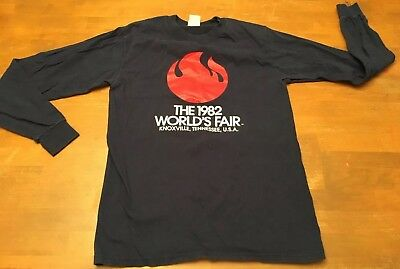 1982 WORLD'S FAIR KNOXVILLE T SHIRT Long Sleeve Blue VINTAGE SZ SM EUC