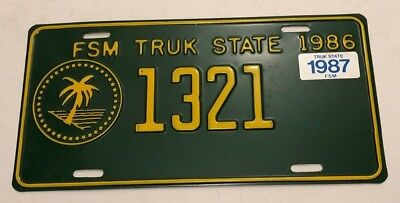 1986/87 Truk State Federated States of Micronesia License Plate
