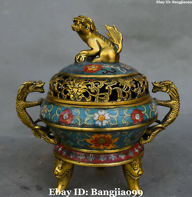 "10"" Old Cloisonne Enamel Gilt Dragon Lion Beast Incense Burner Incensory Censer"