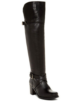 NEW FRYE Womens Kelly Over the Knee Belt Buckle Black Leather Boot Size 7 #77639