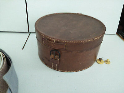ANTIQUE LEATHER COLLAR BOX with 8 COLLARS and a SET of STUDS