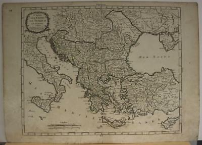 Greece Macedonia Cyprus Italy Balkan Countries 1765 Bourgoin Unusual Antique Map