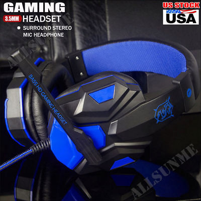 3.5mm Surround Stereo PC Gaming Headset Headband Bass LED Headphone w/Mic US