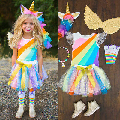AU Unicorn Kids Baby Girls Tops +Tutu Skirt Party Dress Clothes Outfit Halloween