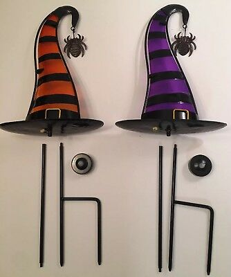 Halloween Witch Hat Tea Light Lanterns With Yard Stakes