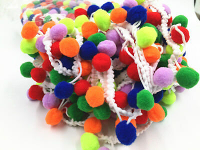 1/5y Pom Pom Applique Fringe Trimming Ribbon Colorful Ball Decorated Lace Trim