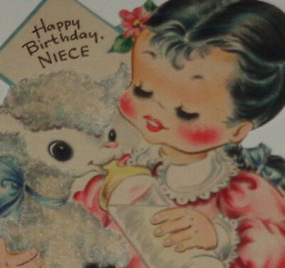 "Vintage birthday card, sweet girl giving a lamb a bottle, Hallmark 4 3/4"" used"