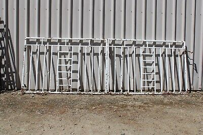 Vintage Gate Pair Driveway White Steel Box Wrought Iron