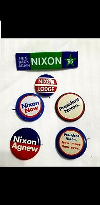 Vintage Presidential Political Campaign Pinback Buttons ~ Nixon ~ Agnew ~ Lodge