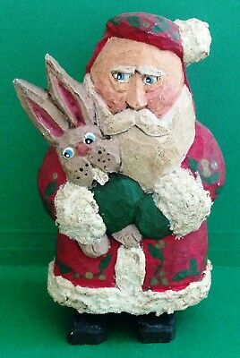 1993 Hand Carved Wooden Folk Art SANTA CLAUS with RABBIT Figurine, Signed