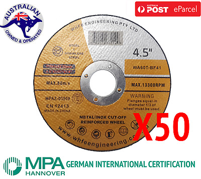 "50x 115mm 4.5"" CUTTING DISC WHEELS ANGLE GRINDER CUT OFF METAL STEEL THIN BLADES"