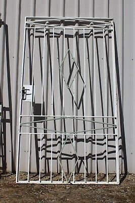Large Vintage Wrought Iron Security Door Retro Garden Creeper Frame Trellis