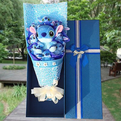 Hot Bunch of  9 Lio Stitch Toy Flowers Kids Doll Christmas Creative Gifts in Box