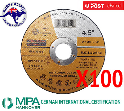 "100 x 115mm 4.5"" CUTTING DISC WHEELS ANGLE GRINDER CUT OFF METAL STEEL THIN"