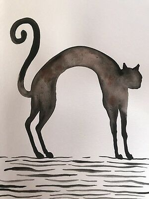 Stretch. Sienna Mayfair Original Art Cat Painting A4 FREE POST