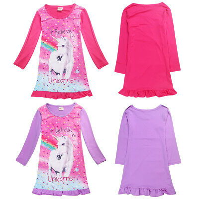 US Girls Horse/Unicorn Long Sleeve Nightgown Pajama Dress Sz 4-10Years Kids Gift