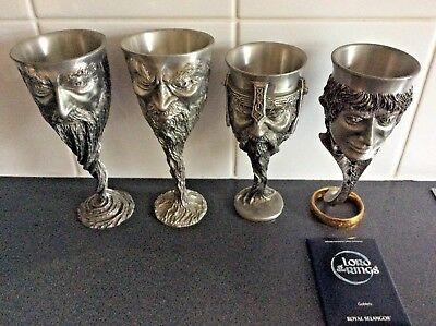 Lord Of The Rings Royal Selangor Pewter Goblets Set Of 4 Never Used