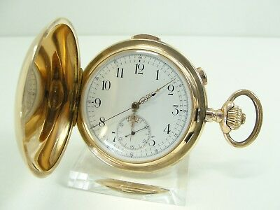 LE PHARE MINUTEN REPETITION CHRONOGRAPH TASCHENUHR 585/14kt GOLD POCKET WATCH