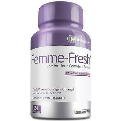 Femme-Fresh Boric Acid Vaginal Suppositories Prevents Yeast Infection pH Balance