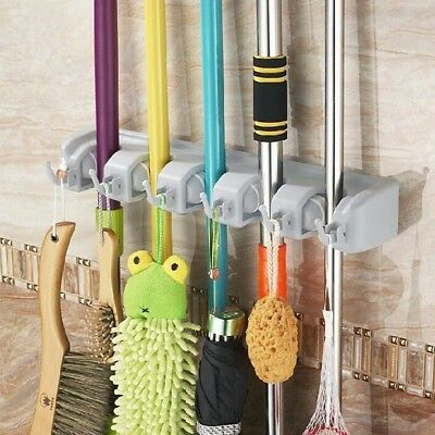 Gearmax® Wall Mounted Brush Broom and Mop Holder / Magic Holder Storage Tidy