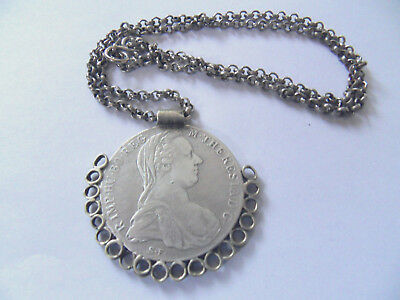 Alter Maria Theresia Taler 1780 In Silber Mit Kette Silber