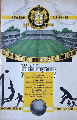 Wolverhampton Wanderers v Chesterfield Football Programme 1949