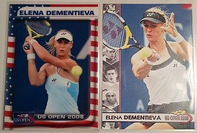 Elena DEMENTIEVA 2-cards LOT 2008 US Open #02/25 2008 US Open #01/10 Tennis