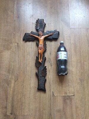 Old Unusual Huge Carved Wood Crucifix Cross Folige Black Forest ? 28 Inch