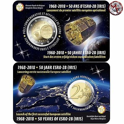 Belgium- 2 Euro coin 2018- 50 years European satellite ESRO 2B - coincard- FR