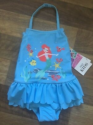 M&S Girls Little Mermaid Swimming Costume AGE 3-6 months New Swim Suit BNWT