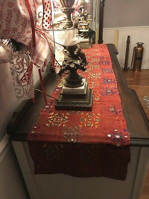 Antique India Saree Shawl Embroidered Glass Mirror Work Christmas Table Runner
