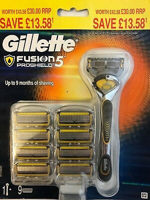 Gillette Fusion5 Proshield Flexball 9 Blade + 1 Stick New And 100% Genuine