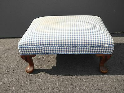 Vintage French Country Cottage Blue & White Plaid FOOTSTOOL Ottoman Carved Legs