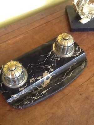 Antique French Black Marble Brass Art Deco Desk Double Inkwell & Liners