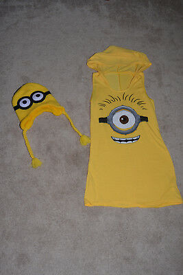 Despicable me costume dress up Minion yellow sleeveless shirt and hat set, S