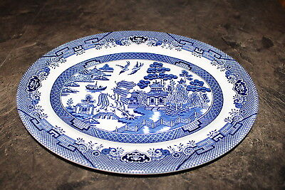 """Churchill Blue Willow Pattern Oval Serving Platter 12"""" long made in England"""