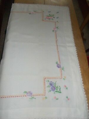 "VINTAGE. Hand Embroidered Table Cloth With Lace Edging approx 36"" x 40""."