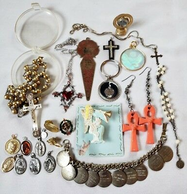 Vintage Jewelry Lot Religious Pins Cross Sterling Silver Rosary Medals Bracelet
