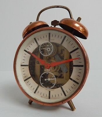 Vintage Liberty Of London Copper Bell Alarm Clock Mechanical Working