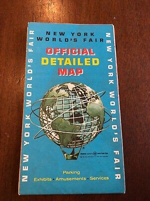 New York Worlds Fair 1964-1965 Official Detailed Map Esso Touring Service !