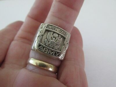 WW2/WW11 Vintage US Army Sterling Silver Men's Signet Ring- Signed JRF 950-16.7G