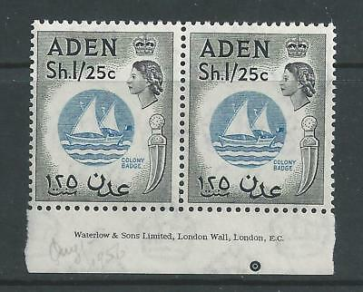 Aden - 1956 QE II Definitive - One Shilling 25 Cents - Un-mounted mint pair