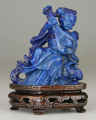 Antique Chinese Lapis Lazuli Figure Statue Kwanyin Carved Stand - 19Th Qing