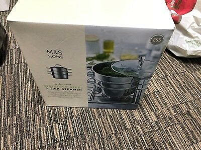 M&S Home Stainless Steel 3 Tier Steamer - 56269/17