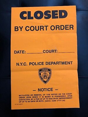 """""""CLOSED BY COURT ORDER"""" NYC POLICE Door Decal"""